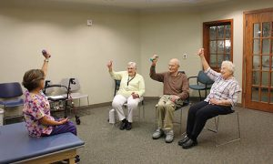 Residents at an exercise class